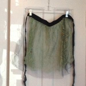 Vintage black mesh and green lace apron